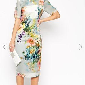 ASOS SALON Floral Open Back Midi T Shirt Dress
